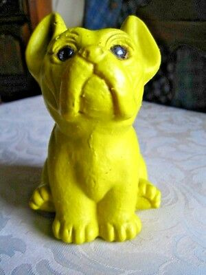 Vintage Yellow Plastic Bull Dog Coin Bank - Piggy Bank