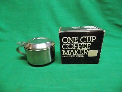 Vtg Knobler one (1) cup stainless steel coffee maker. Over the cup style camping
