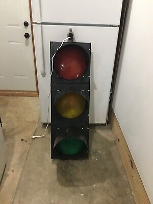 "Black Real Traffic Signal Light Red, Yellow, Green 12"" Wired LED w/Hngr Man Cave"