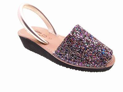 369b04c8d3599 Avarcas Menorca leather Glitter with wedge Woman Size 35 36 37 38 39 40 41