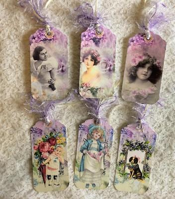 Set of 6 Hang Tags~Vintage~Shabby Chic Girls~Gift Tags~Scrapbook's~Cards~#158R