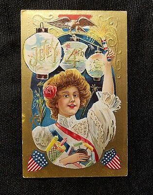 Gold Embossed Vintage Postcard 4th Of July Independence Day circa 1910