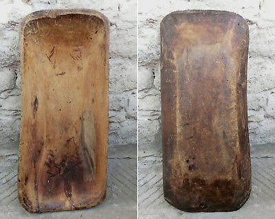 💥18thC Antique Rare tree pox RUSTIC Hand hewn Wooden dough BOWL trough Trencher