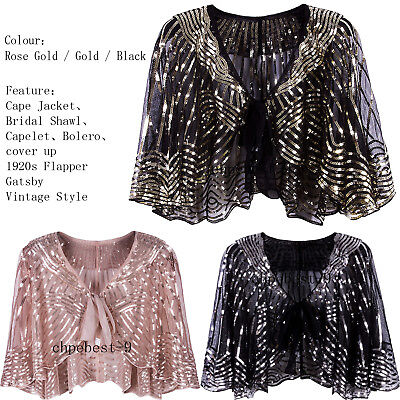 Women Vintage Shawl Wrap Sequin Beads Evening Cape Flapper Shawls Retro Cover up