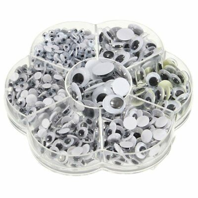 New 700Pcs/Box 7 Sizes DIY Round Self-adhesive Wiggly Googly Eyes For Doll M7Z5