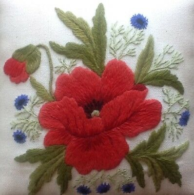 'Poppy and Cornflowers' a crewel embroidery kit for beginners