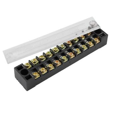 10 Position Screw Terminal Covered Barrier Strip 600V 15A