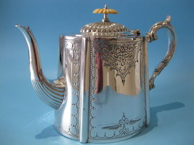 Beautiful Large Antique Silver Plated Victorian Ornate Hand-Engraved Teapot