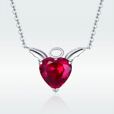 Fashion 925 Sterling Silver Angel Pendant Necklace Red Gem Crystal Chain Jewelry