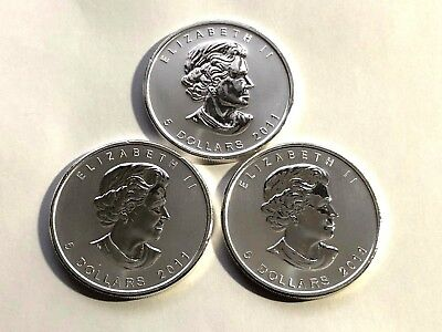 3 X 2011 Canadian Silver Maple Leaf 1 oz Silver Bullion Coins
