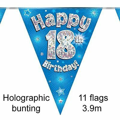 Happy 18Th Birthday Party Foil Holographic Celebration Bunting - Age 18 Blue
