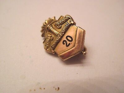 20 Year Gold Filled Loyalty Award Service Pin From Shakespeare