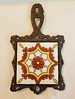 Vintage Cast Iron & Dal-Tile Mexico Wall Plaque Kitchen Trivet