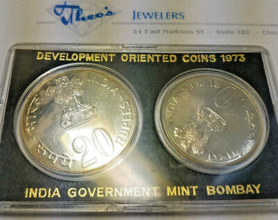 1973 India Development Oriented Silver Two Coin Gem Proof Set Bombay Mint OGP