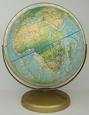 "Vtg Rand McNally World 12"" Globe Suspended Dual Axis Raised Relief Metal Base"
