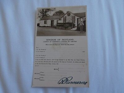 Gretna Green Dumfriesshire - Signed Marriage Certificate - early postcard