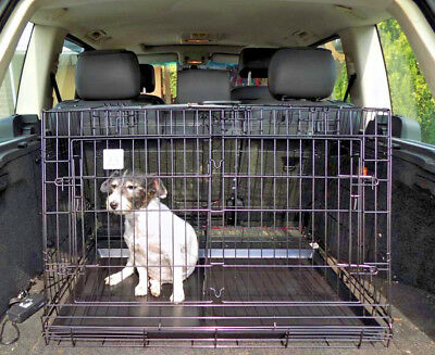 Car Boot Sloping Pet Cages Metal Dog Puppy Folding Crate Animal Transport Car