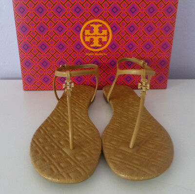 24b4221c692b NIB Tory Burch Leather Marion Quilted Sandals SAND LEATHER BEIGE Size 9.5 M