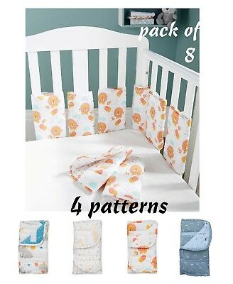 New ☁⭐️️Babies 4 patterns ⭐️ washable boy girl ⭐☁️️ Cot Bar Bumpers ⭐️pack of 8