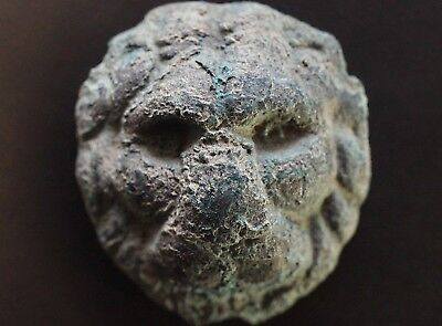 Ancient Roman Bronze Amulet depicting Head of Lion Animal Beast, c 250-350 Ad.