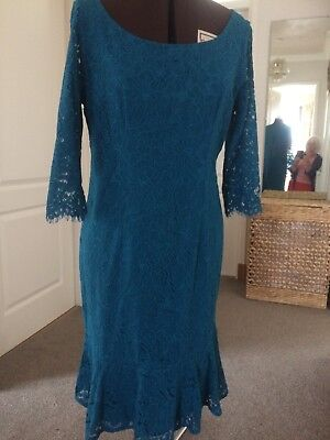 Jacques Vert teal lace dress with sleeves size 14