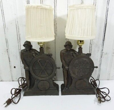 Pair 2 FDR Franklin Roosevelt Lamps The Man of the Hour Sailing Helm Captain