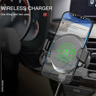 Qi Wireless Car Charger Air Vent Mount Holder For Samsung & iPhone 8 X XS Max XR