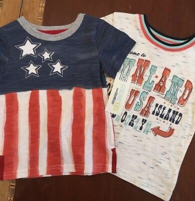 New Boy's OshKosh USA 2 Shirt Lot 12 Months NWT