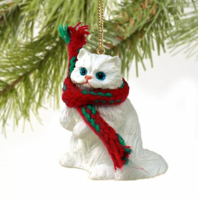 Resin White Persian Cat Tiny One Scarf Ornament