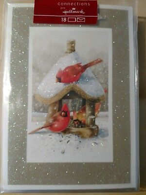 18 VTG NIP HALLMARK  Marjolein Bastin Cardinals Bird House Glitter Holiday Cards