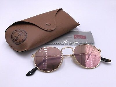 Ray Ban RB3447N 001/Z2 ROUND FLAT LENSES Copper Flash lenses; Gold AUTHENTIC