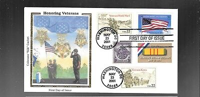 Us Fdc  Honoring Veterans  2001  With Combo  Colorano Silk