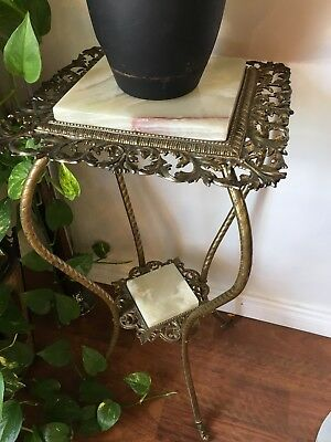 Brass Plated Ornate Plant Stand With Marble Inset
