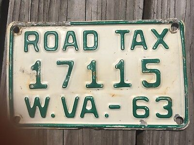 "1963 WEST VIRGINIA ROAD TAX LICENSE PLATE - SMALL 7"" x 4"""