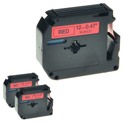 """3 PK MK 431 M-K431 Black on Red Label Tape for Brother P-Touch PT-70HK 1/2"""" 12mm"""