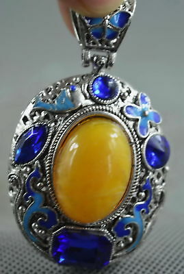 Collectable Handwork Miao Silver Carve Flower Inlay Agate Lucky Noble Pendants
