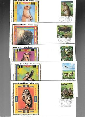 Us Fdc  Great Plains Prairie   2001  By Colorano Silk Set Of 10