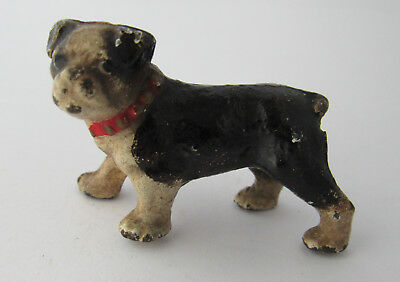 Rare Antique Adorable Painted Lead, Little Pug Dog With Red Collar