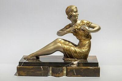 1930 STATUE SCULPTURE ART DECO LADY by CHIAPRUS. SIGNED D.H.CHIPARUS ON BASE