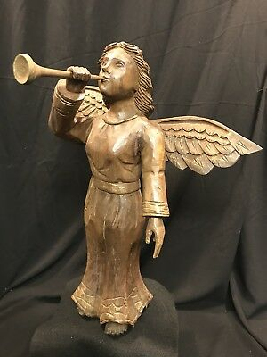"Large Vintage Carved Wood Angel With Horn Wings 19"" Tall"