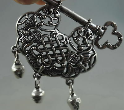 Collectable Handwork Decor Old Miao SIlver Carve Bat & Lock Hollow Ruyi Pendant
