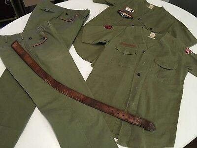 2-Vintage BSA Boy Scouts Of America Uniform Set Green Includes Patches