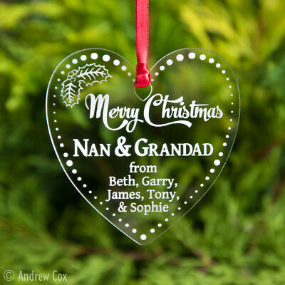Merry Christmas Nan and Grandad, Family, Friends Baubles Personalised Names Xmas