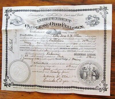 1924 IOOF Odd Fellows Rebekah Withdrawal Card Lakeview Lodge Etna, Maine