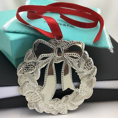 Tiffany & Co Sterling Silver Holiday Christmas Wreath Ornament LARGE