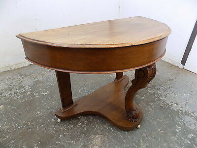 antique,victorian,mahogany,demi lune,table,castors,hall table,bathroom,console