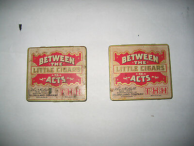 Lot Of 2 Vintage Between The Acts Little Cigar Tins