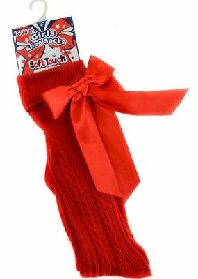 Baby & Girls Red Knee Socks with Satin Bow Spanish Romany Ribbed 0 - 6 Years