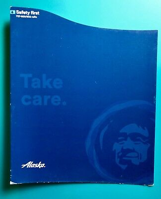 First Class Alaska Airlines Safety Card--737-800/900 With Rafts --New  Version