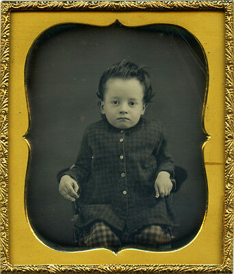 Stunning Daguerreotype of Young Boy With Dark Stylish Hair and Checkered Outfit